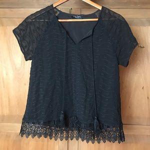 Eden society black lace blouse top